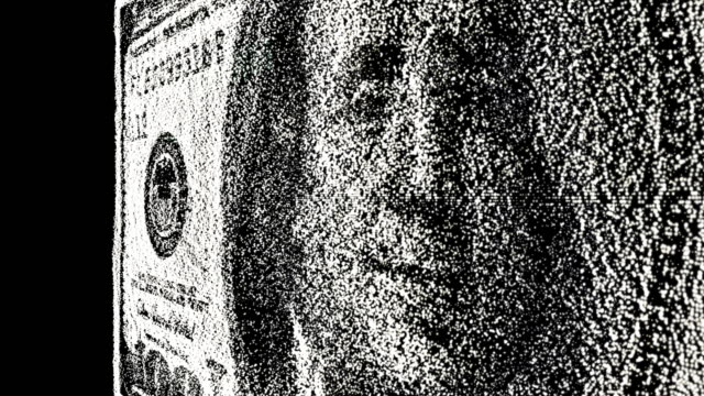 Pixelated dollar bill currency