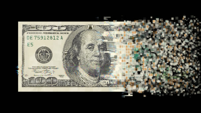 Pixelated dollar currency on black background