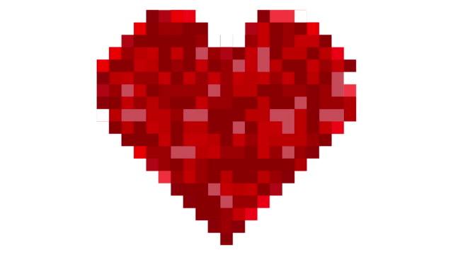 Pixelated heart shape video