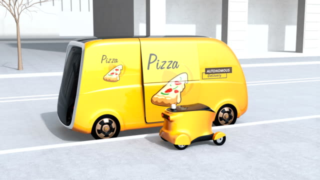 Pizza box transfer from self-driving delivery van to mobile delivery drone video