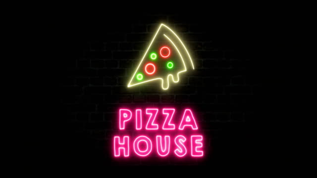 Pizza House Neon Sign Neon, pizza house, pizza, fast food housing logo stock videos & royalty-free footage