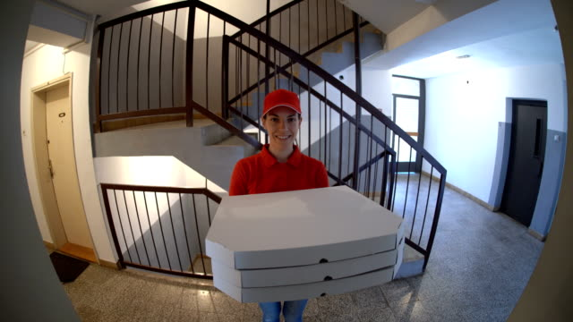 pizza is here - fish eye video stock e b–roll