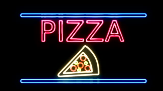 Pizza Neon Sign in Retro Style Turning On