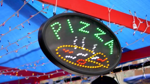 Pizza Sign Led Billboard in 4K Slow motion 60fps