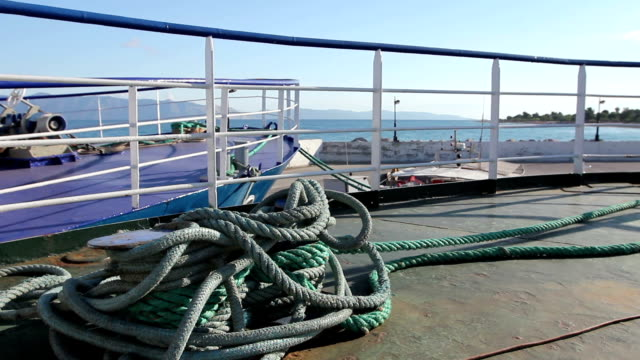 Place on the boat where ship is tied with ropes for dock video