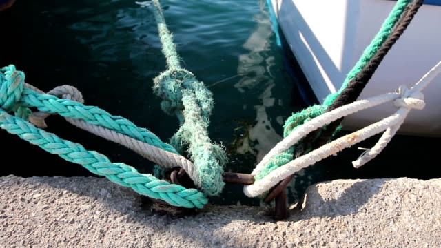Place on the pier where ships are tied with ropes video