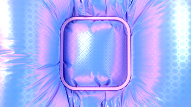 Placeholder for a logo. Rectangle badge with rounded edges falls on a multi colored iridescent wavy fabric with a metallic sparkling animated pattern. 3d rendering digital animation. 4K UHD