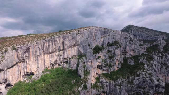 Places of interest in Provence - Verdon Gorge. The camcorder rotates smoothly from left to right.