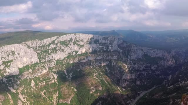 Places of interest in Provence - Verdon Gorge. The camcorder rotates smoothly from left to right. France.