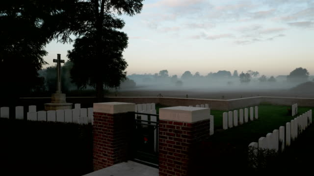 Places of World War One in Belgium: Plugstreet Wood, british military cemetery at sunrise video