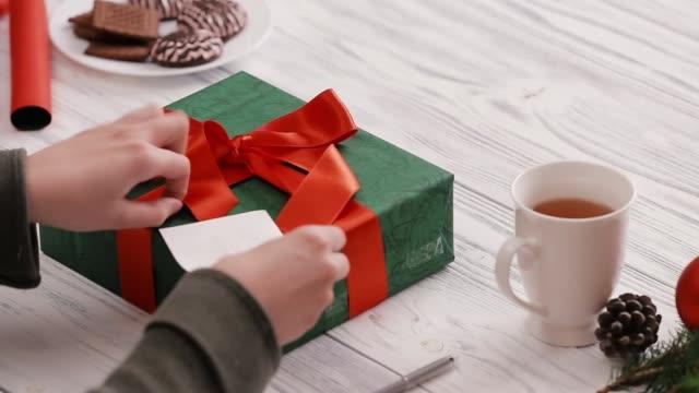 att placera ett kort på en julklapp - pinjenöt bildbanksvideor och videomaterial från bakom kulisserna