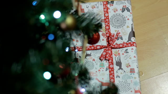 Placing a Gift under the Christmas tree.Decorated Christmas tree with gifts. video