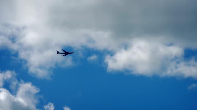 Plane Flies Across Blue Sky