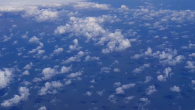 Plane flies highly over Earth and clouds video
