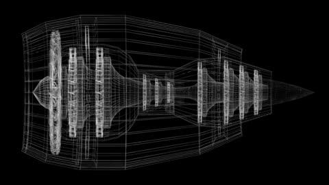 vídeos de stock e filmes b-roll de 3d plane/ jet engine - diagrama
