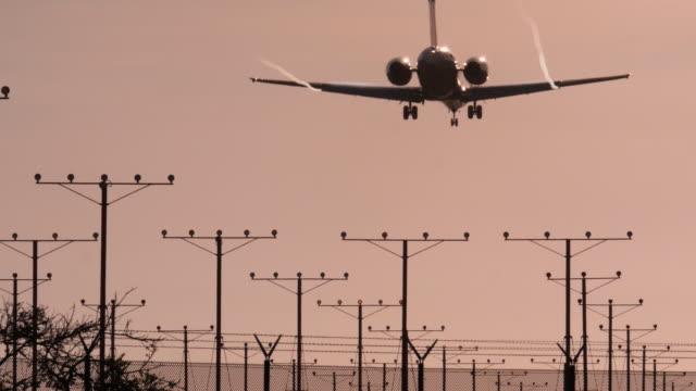 Plane landing at Los Angeles airport California (LAX) 4k video