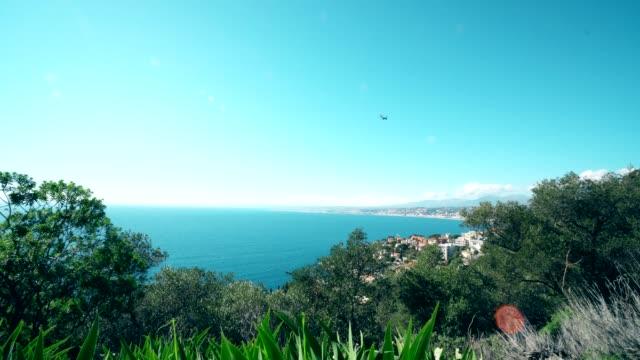 plane landing in nice airport cote d'azur. sea and sun. - saint martin caraibi video stock e b–roll