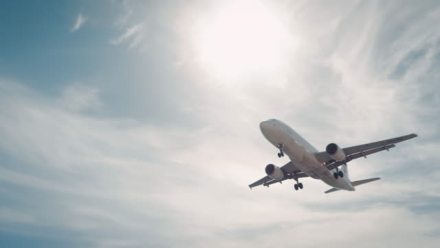 Plane landing on airport video