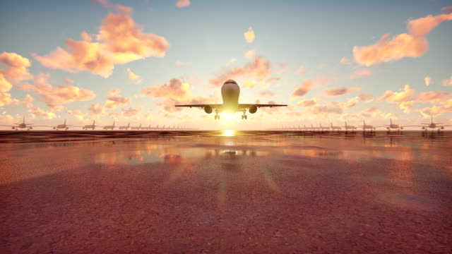 stockvideo's en b-roll-footage met vliegtuig opstijgt bij zonsopgang achtergrond in slow motion - schiphol