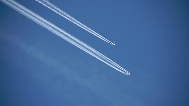 Planes flying in formation on a clear day video