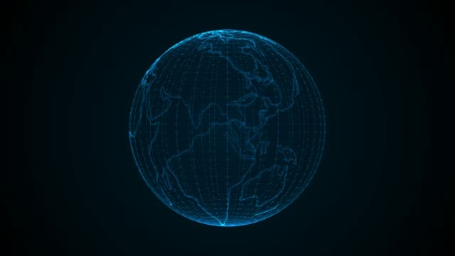 Planet Earth, abstract digital globe. 3D animation.