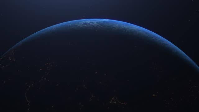 pianeta terra vista incredibile dallo spazio - copy space video stock e b–roll