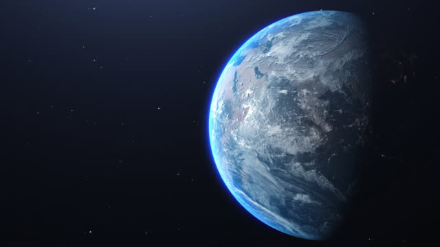 planet earth amazing view from space with copy space - orbitare video stock e b–roll