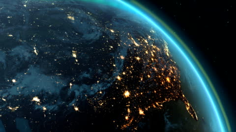 Planet earth America zone with night time and sunrise New highly detailed earth. America zone with aurora, night time and sunrise . 3D Render using satellite imagery (NASA). freedom stock videos & royalty-free footage