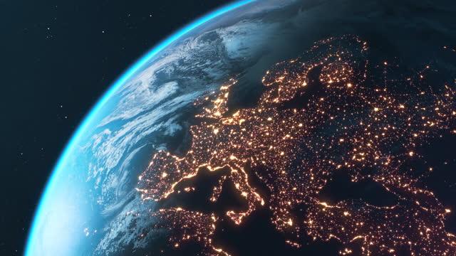 夜の惑星地球 - ヨーロッパ、北米、南米 - グローバル点の映像素材/bロール
