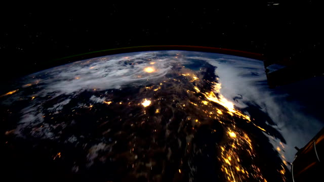 Planet Earth at night seen from the space. video