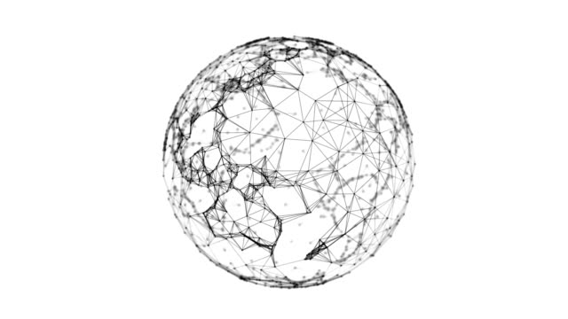 Planet earth. Black sphere shape ball with digital data and network connection triangle lines for technology concept isolated on white background. Motion graphic. 3d abstract illustration