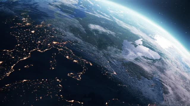 Planet Earth. Day to night. Orbiting over southern Europe - video