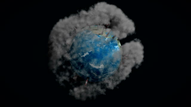 Planet earth environment pollution with smoke, global warming, 3d animation, alpha video