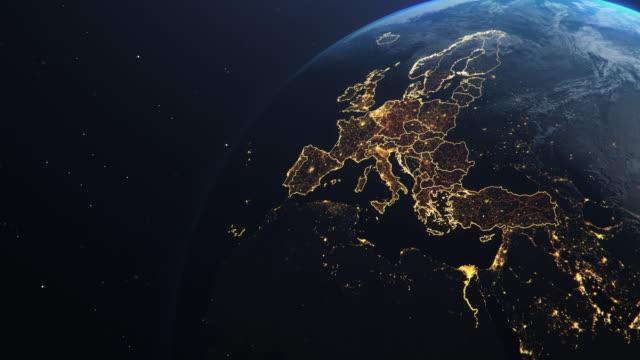 планета земля из космоса ес европа страны выделены - континент географический объект стоковые видео и кадры b-roll