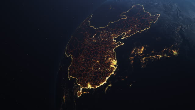 Planet Earth from Space People's Republic of China highlighted Planet Earth from Space, People's Republic of China highlighted state borders and counties animation, city lights, 3d illustration china east asia stock videos & royalty-free footage