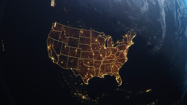 Planet Earth from Space USA, United States highlighted state boarders and counties animation