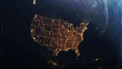 vídeos y material grabado en eventos de stock de planet earth from space usa, united states highlightd state boarders and counties animation - cultura estadounidense