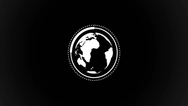 planeten jorden världen roterar med infographic vector animation i svart och vitt renderade video - infographics bildbanksvideor och videomaterial från bakom kulisserna