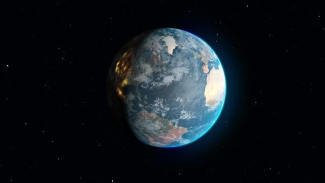 vidéos et rushes de planète terre en rotation avec zoom sur le continent des usa - carte de france
