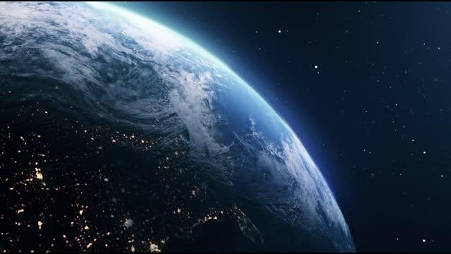 pianeta terra nello spazio - copy space video stock e b–roll