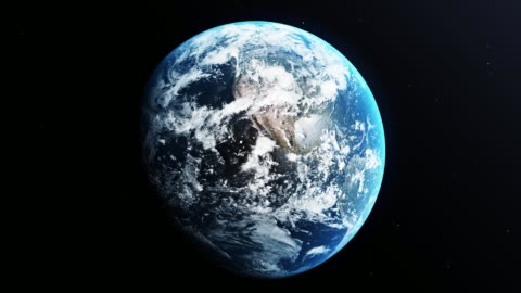 il pianeta terra gira nello spazio sullo sfondo nero con le stelle - copy space video stock e b–roll
