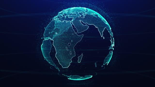 vídeos de stock e filmes b-roll de planet earth on digital and technology rotating 3d animation - circular economy