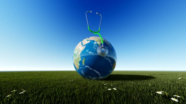 Planet Earth On Grass With Blue Sky For World Health Day World Health Day, Day, Healthcare And Medicine, Medicine, Healthy Lifestyle world health day stock videos & royalty-free footage