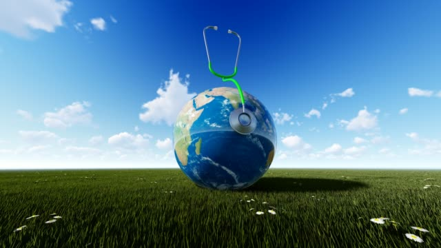 Planet Earth On Grass With Cloudly Sky For World Health Day World Health Day, Day, Healthcare And Medicine, Medicine, Healthy Lifestyle world health day stock videos & royalty-free footage