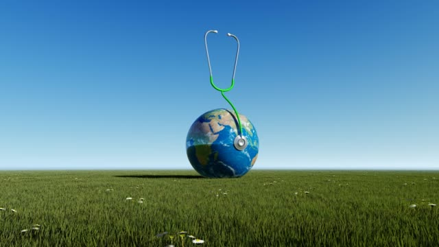 Planet Earth On GrassWith Blue Sky For World Health Day World Health Day, Day, Healthcare And Medicine, Medicine, Healthy Lifestyle world health day stock videos & royalty-free footage