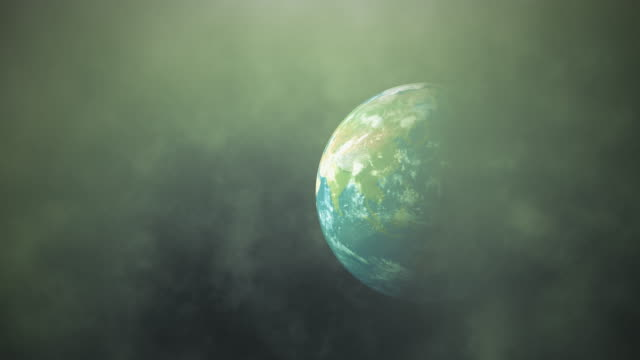 Planet earth pollution concept. World in green toxic smoke, global warming and pollution background. 4K 3D globe with flare light, clouds and smog floating in space showing contamination and chaos.