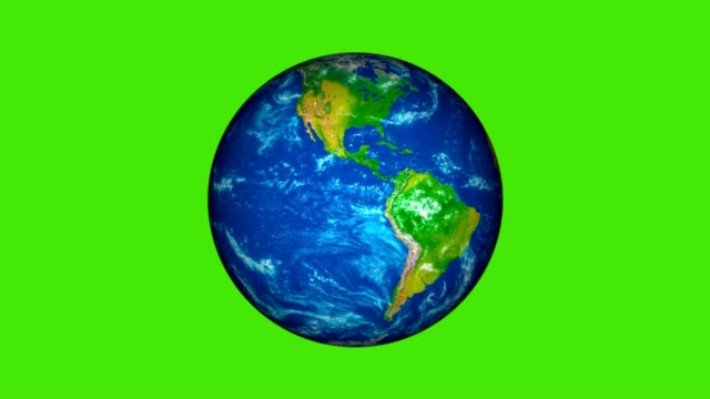 planet earth rotating on the green screen - roteare video stock e b–roll
