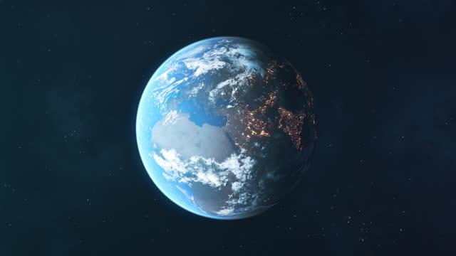 宇宙から見た惑星地球 - ループ可能なアニメーション - グローバル点の映像素材/bロール