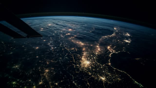 Planet Earth seen from the ISS. Beautiful Planet Earth observed from space. Elements of this video furnished by NASA.