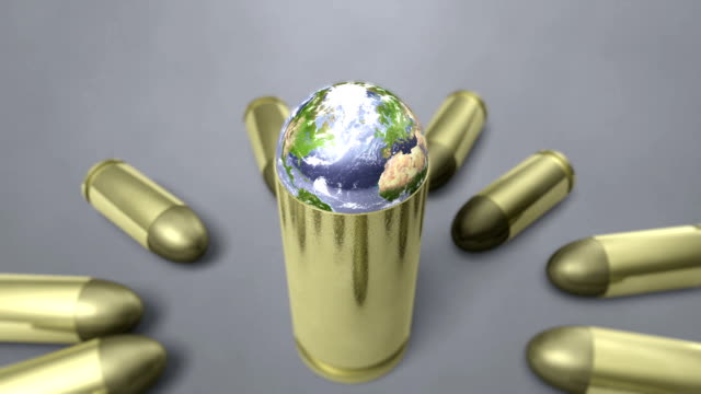 planet earth spinning around bullet shell